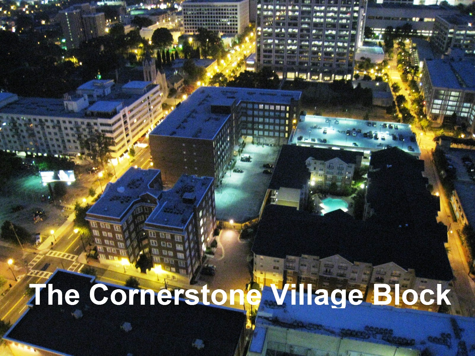 Cornerstone Village at Night