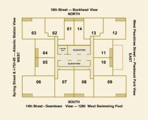1280 West Building Floor Plan of Units