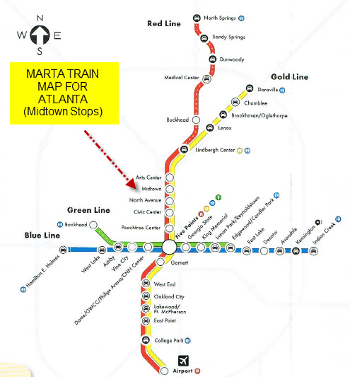 MARTA Train Service in Midtown Atlanta