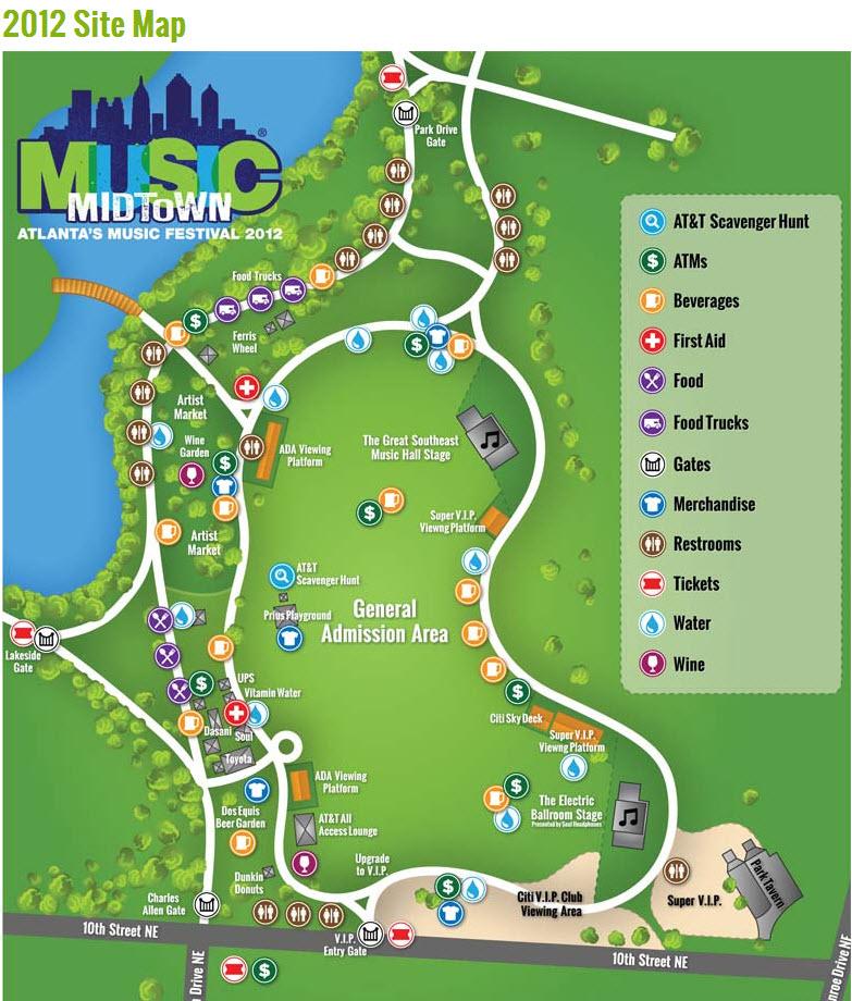 Site Map 2018: Music Midtown Arrives September 21-22, 2012