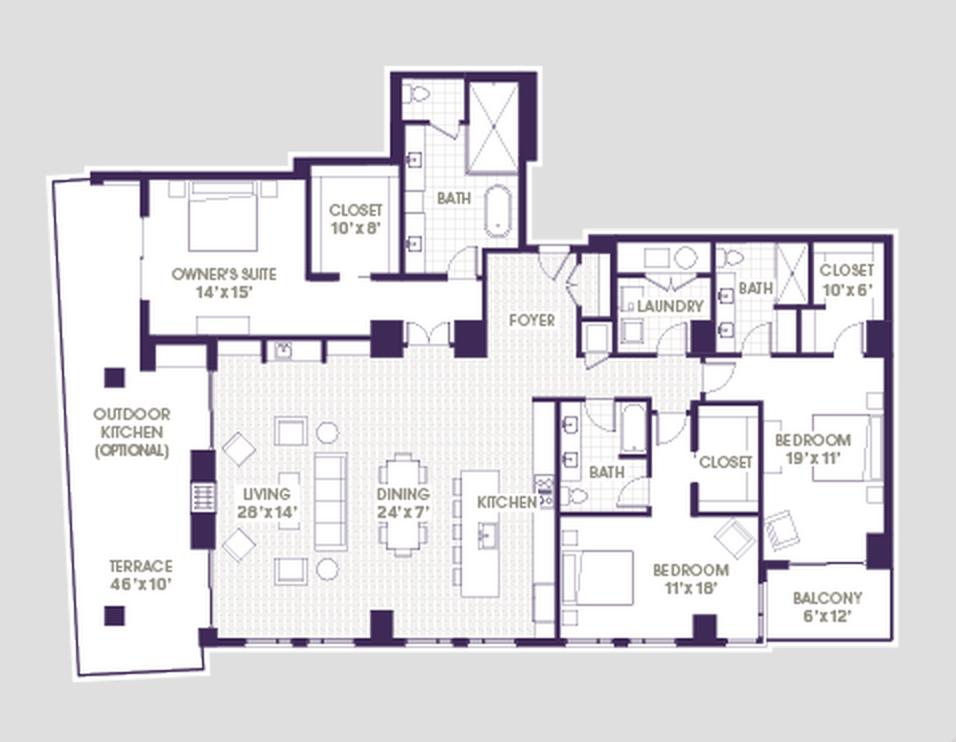 Seventh Midtown 3 Bedroom Floor Plan