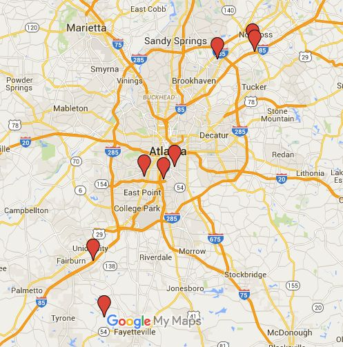 Map of Atlanta Movie Studio Locations