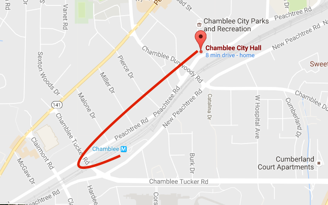 Map From MARTA to Taste of Chamblee